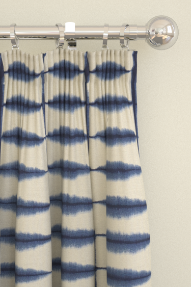 Shibori Indigo Linen Pencil Pleat Curtains By Scion