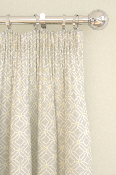 Fretwork silver linden pencil pleat curtains by sanderson for Roller pleat curtains