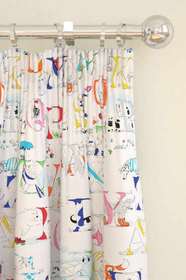 Alphabet Zoo Rainbow Brights Pencil Pleat Curtains by Sanderson ...