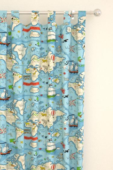Treasure Map Sea Blue Tab Top Curtains By Sanderson