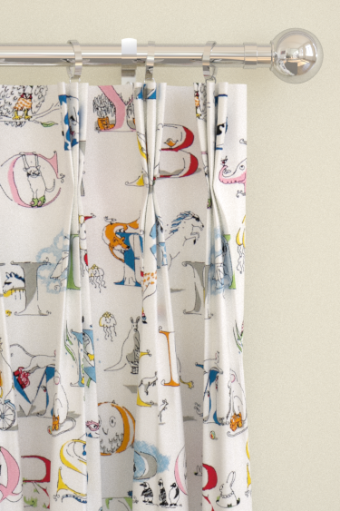 Alphabet Zoo Embroidery Pencil Pleat Curtains by Sanderson : Brewers ...