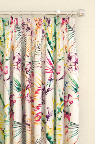 Paradise Papaya Flamingo Apple Pencil Pleat Curtains By