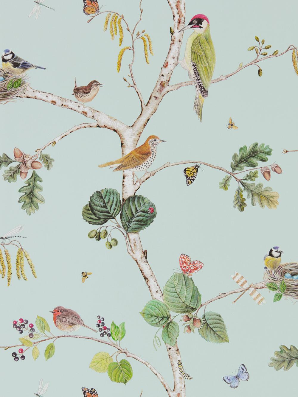 Woodland Chorus Sky Blue By Sanderson Wallpaper