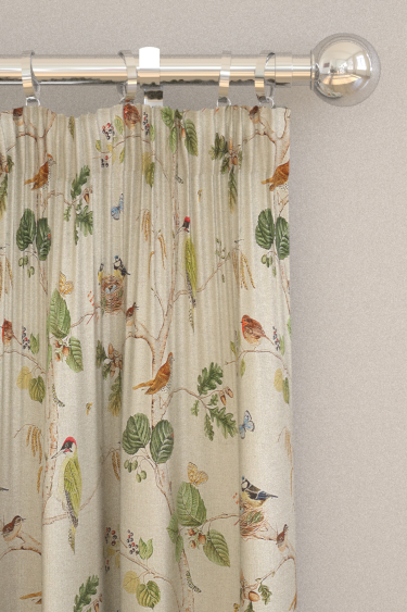 Woodland Chorus Linen Multi Pencil Pleat Curtains By