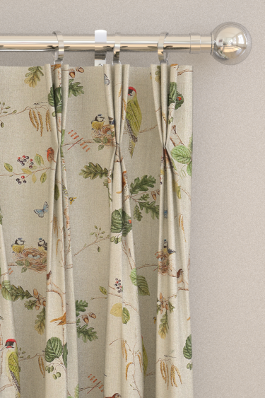 Woodland Chorus Linen / Multi Tab Top Curtains By Sanderson : Brewers Home