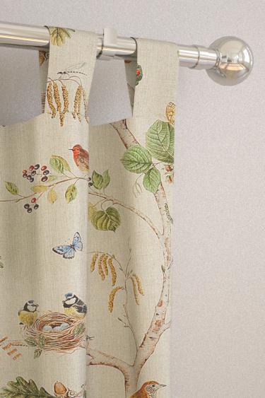 Woodland Chorus Linen Multi Tab Top Curtains By Sanderson