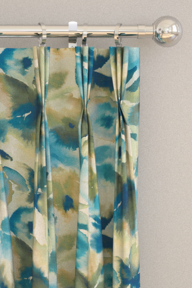 Flores Sky Emerald Zest Pinch Pleat Curtains By