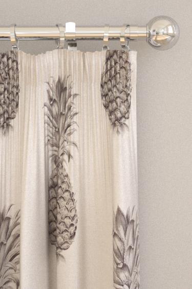 Pineapple Royale Graphite Linen Pencil Pleat Curtains By Sanderson