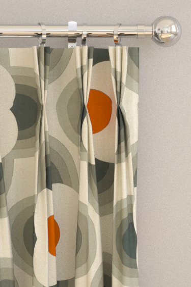 Striped Petal Orange Pinch Pleat Curtains By Orla Kiely Brewers Home