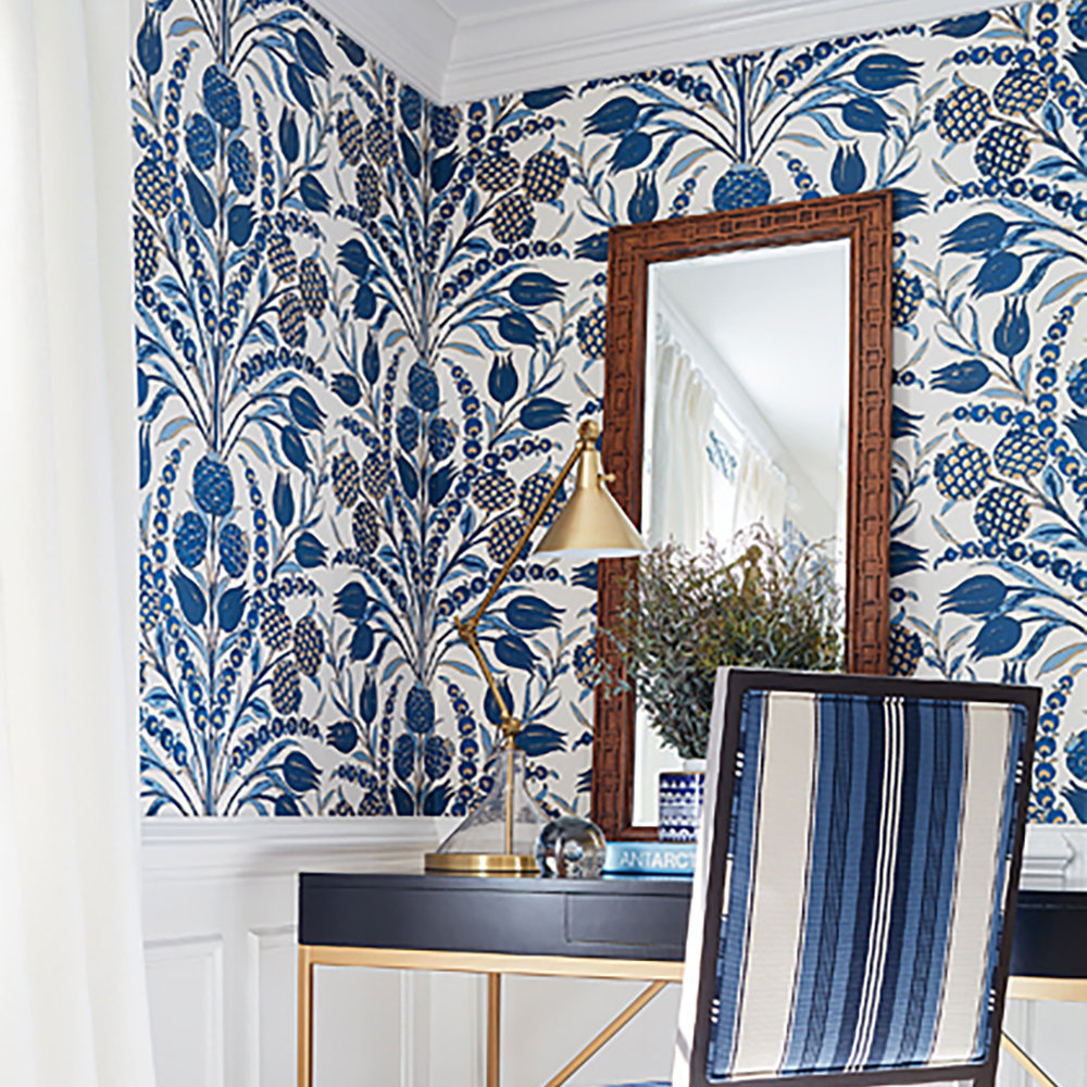 Cornelia Aqua Blue By Thibaut Wallpaper T72602