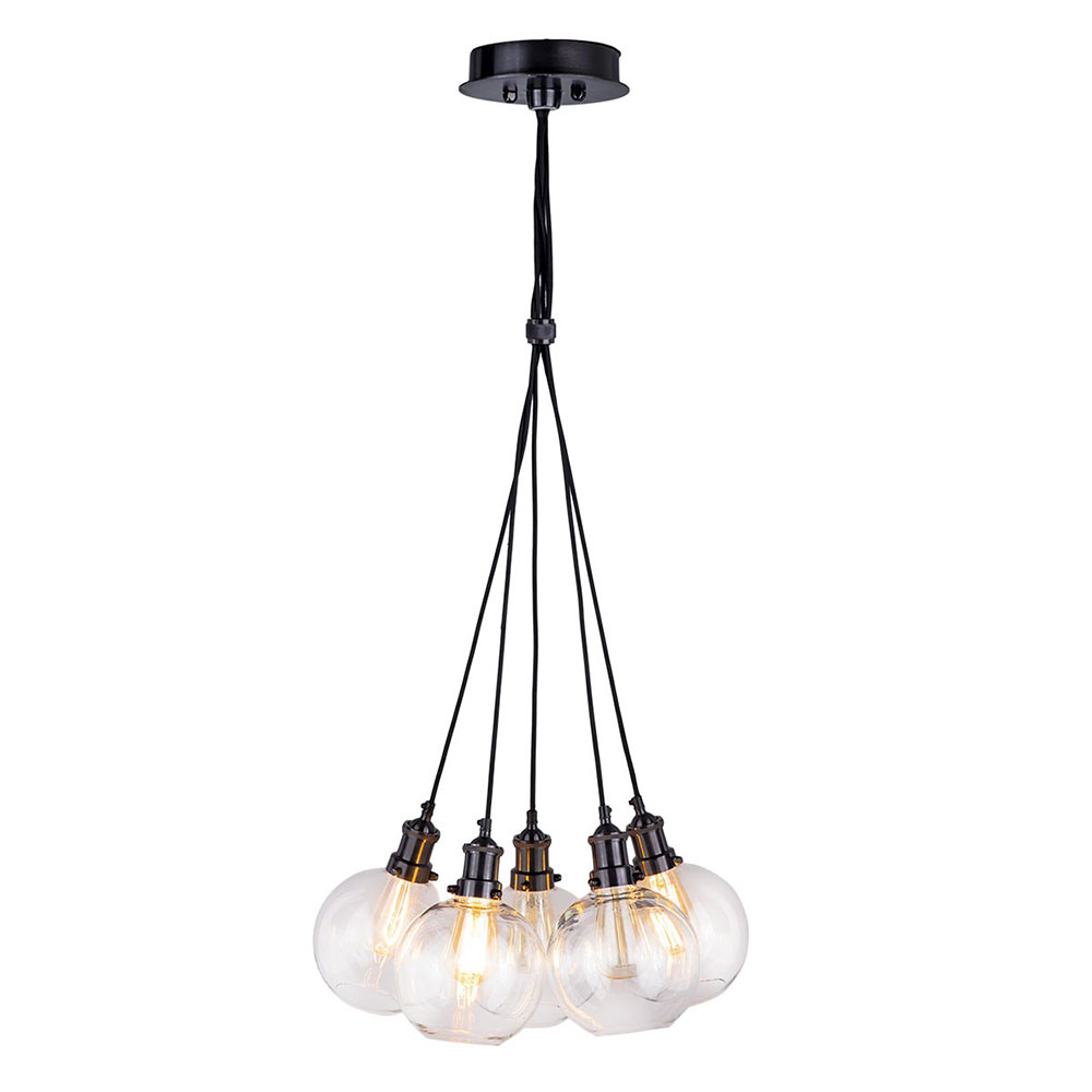 Rouen Cluster Pendant Light Black Chrome And Glass By