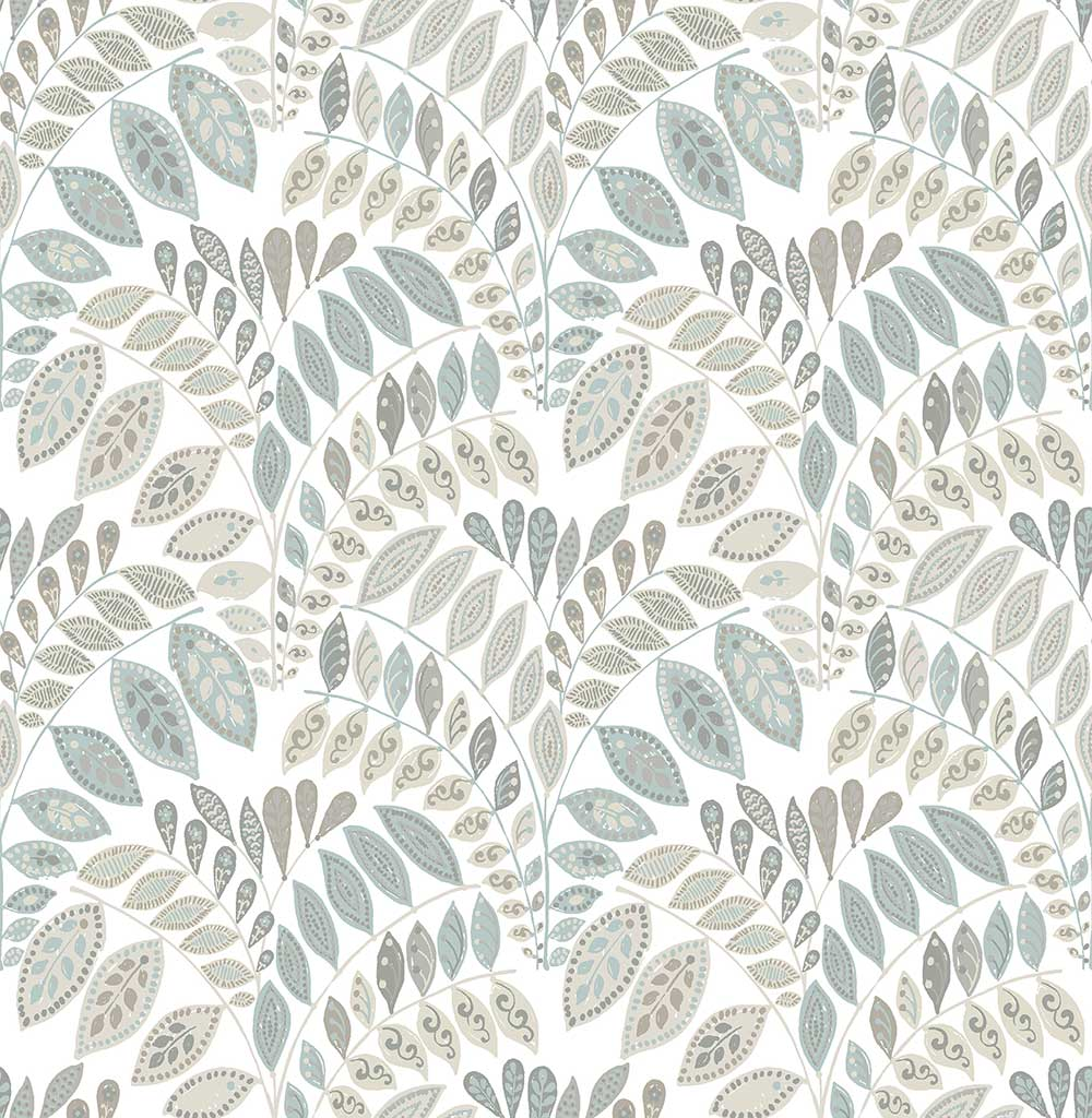 Fiddleheads Grey Blue By A Street Prints Wallpaper