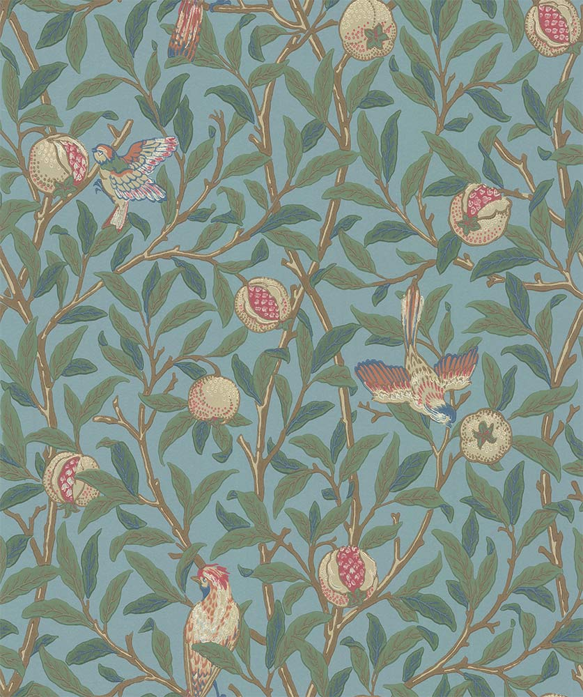 Bird Pomegranate Turquoise Coral By Morris Wallpaper